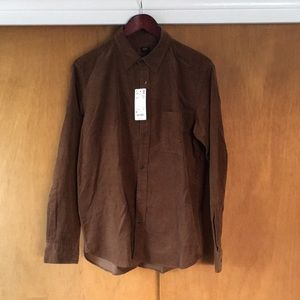 Uniqlo Medium Corduroy brown long sleeve shirt
